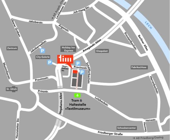 tim Augsburg Textilmarkt Anfahrt Stadtplan